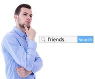 Internet en sociaal netwerkconcept - van de onderzoeksbar en mens dreamin Stock Afbeelding