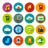 Internet en wedsites pictogrammen – Fllate-reeks Royalty-vrije Stock Fotografie