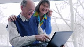 Internet entertainment, senior couple with laptop spend leisure time on vacation. At home stock video footage