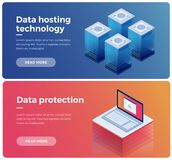 Internet equipment industry. Data transmission technology and data protection. Illustration of network telecommunication server. Protecting your personal Stock Image