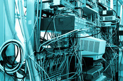 Internet equipments in datacenter server room. display on the switches and servers Stock Photo