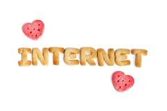 Internet et deux coeurs Photographie stock libre de droits