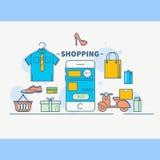 Internet et réseau mobile de Social de concept de vente En-tête coloré de concept d'achats en ligne, ligne style mince de concept Photos stock