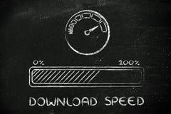 Internet et taux ou vitesse de transfert des données photos libres de droits