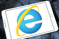 Internet explorer web browser logo. Logo of microsoft windows internet explorer web browser on samsung tablet stock photo