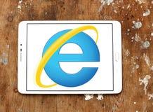 Internet explorer web browser logo. Logo of microsoft windows internet explorer web browser on samsung tablet on wooden background stock photos