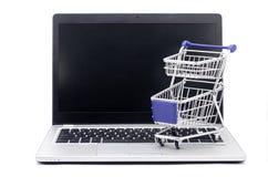 internet för begrepp 3d framför shopping Arkivfoton