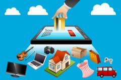 internet för begrepp 3d framför shopping Arkivbilder