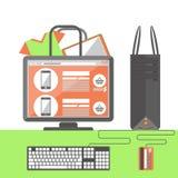 internet för begrepp 3d framför shopping stock illustrationer