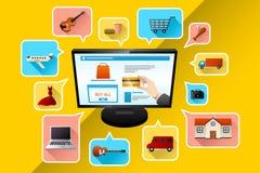 internet för begrepp 3d framför shopping Arkivbild