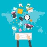 internet för begrepp 3d framför shopping E-kommers Bärbar dator med markisen royaltyfri illustrationer