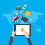 internet för begrepp 3d framför shopping E-kommers Bärbar dator med markisen vektor illustrationer