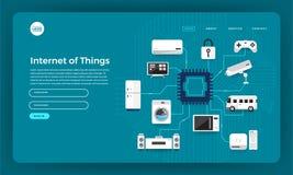 Internet för begrepp för design för lägenhet för modelldesignwebsite av saker (I stock illustrationer
