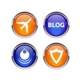 Internet för bouton för rengöringsduk för knappsymbolsuppsättning 3D Royaltyfri Fotografi