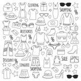 Internet för den Sale shoppingmarknaden shoppar rabattvektoruppsättningen av till salu klottersymboler stock illustrationer