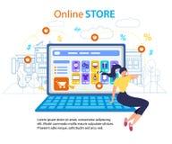 Internet för lagret för kvinnaappellmobiltelefonen shoppar den online- stock illustrationer