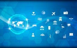 Internet för modell för vetenskap och teknik för vektorvärldskartaabstrakt begrepp av sakerbegreppsbakgrund