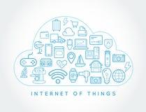 Internet för moln IOT av wi för design för vektor för sakerSmart hem kvalitets- royaltyfri illustrationer
