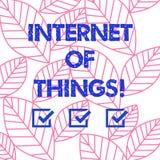 Internet för ordhandstiltext av saker Affärsidé för sammankoppling via beräknande apparater inbäddad samling för internet av royaltyfri illustrationer