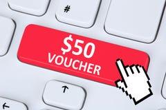 Internet för shopping för försäljning för rabatt för 50 dollar kuponggåva sh online- Arkivbilder