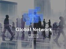 Internet för teknologi för nätverket för anslutning för det globala nätverket lurar den sociala Fotografering för Bildbyråer