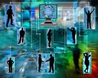 Internet förenar mänsklighet Arkivbild