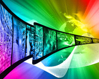 Internet film. Abstract composition which shows a film strip with images on high technology Stock Photography