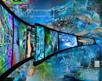 Internet film. Abstract composition which shows a film strip with images on high technology Stock Photos