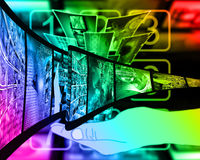Internet film. Abstract composition which shows a film strip with images on high technology Royalty Free Stock Photography