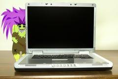 Internet fiska med drag i nederlag bak bärbara datorn Royaltyfri Foto