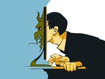Internet fiska med drag i sammanträde på datoren Royaltyfri Fotografi