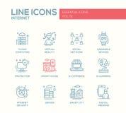 Internet - flat design line icons set Stock Image