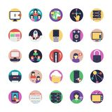 Internet Flat Icons Collection. The creative and colorful pack on internet flat icons. From wifi router symbol to source coding, network connections, satellite Royalty Free Stock Image