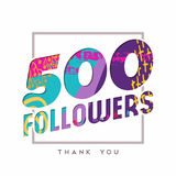 500 internet follower number thank you template. 500 followers thank you paper cut number illustration. Special user goal celebration for five hundred social royalty free illustration