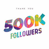 500000 internet followers thank you template. 500000 followers thank you paper cut number illustration. Special 500k user goal celebration for five hundred vector illustration