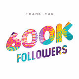 600000 internet followers thank you template. 600000 followers thank you paper cut number illustration. Special 600k user goal celebration for six hundred stock illustration