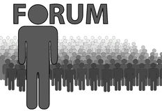 Internet FORUM Admin and people who post read royalty free illustration