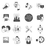 Internet forums concept icons set black. Internet online forums concept black icons set with users group message bubbles conversation abstract isolated vector Royalty Free Stock Images