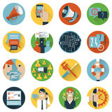 Internet forums concept icons set flat. Internet forum users community flat icons set of  24h help and ideas sharing abstract isolated vector illustration Stock Photography