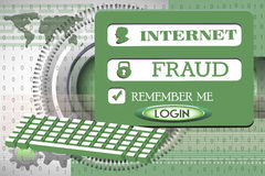 Internet fraud. Abstract colorful background with computer keyboard, login design with the text internet fraud written with capital letters Stock Image