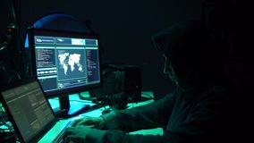 Internet fraud, darknet, data thiefs, cybergrime concept. Hacker attack on government server. Dangerous criminals coding. Virus programs in the basement stock video footage