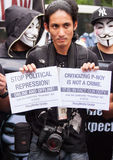 Internet freedom law protest in Manila, Philippines. The Philippine Internet Freedom Alliance (PIFA) and other groups including Bayan Muna, Piston, and Gabriela Stock Photos