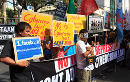 Internet freedom law protest in Manila, Philippines. The Philippine Internet Freedom Alliance (PIFA) and other groups including Bayan Muna, Piston, and Gabriela Royalty Free Stock Photography