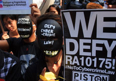Internet freedom law protest in Manila, Philippines. The Philippine Internet Freedom Alliance (PIFA) and other groups including Bayan Muna, Piston, and Gabriela Stock Image