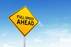 Internet full speed road sign shot over beautiful blue sky. Internet full speed road sign over blue sky. Fast internet concept stock photo