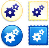 Internet Gear on Stamp and Button Stock Photos