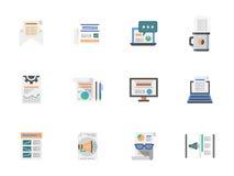 Internet-geplaatste pictogrammen van de artikelen de vlakke kleur Stock Fotografie