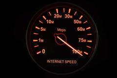 Internet-Geschwindigkeitstest mit Geschwindigkeitsmesser stockbilder