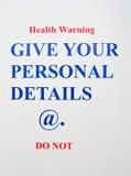 Internet-Gesundheits-WARNING. Stockbilder