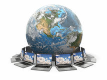 Internet. Global communication. Earth and laptop. 3d Stock Photography